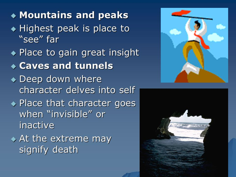 Mountains and peaks Highest peak is place to see far. Place to gain great insight. Caves and tunnels.
