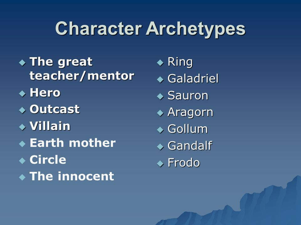 Character Archetypes The great teacher/mentor Hero Outcast Villain