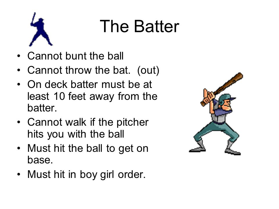 The Batter Cannot bunt the ball Cannot throw the bat. (out)