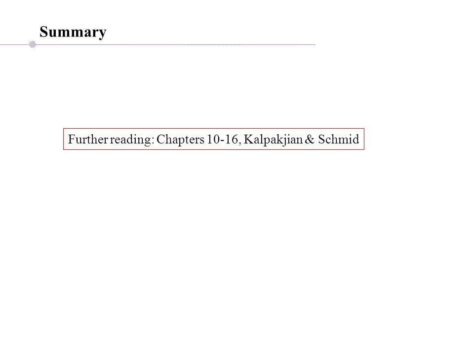 Summary Further reading: Chapters 10-16, Kalpakjian & Schmid
