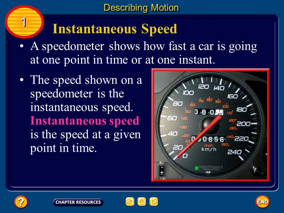 Describing Motion 1. Instantaneous Speed. A speedometer shows how fast a car is going at one point in time or at one instant.
