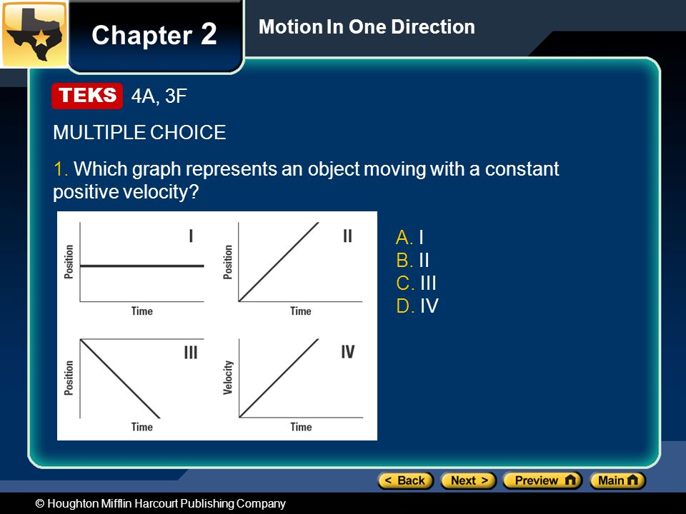 Chapter 2 Motion In One Direction 4A, 3F MULTIPLE CHOICE