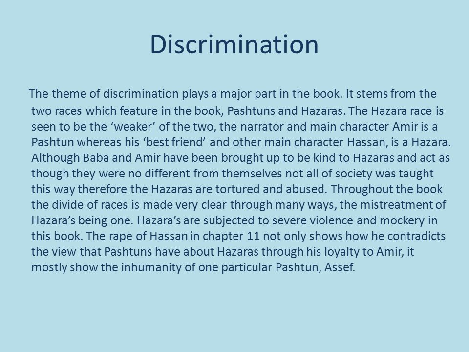 the kite runner by khaled hosseini ppt video online  the kite runner by khaled hosseini 2 discrimination the theme of