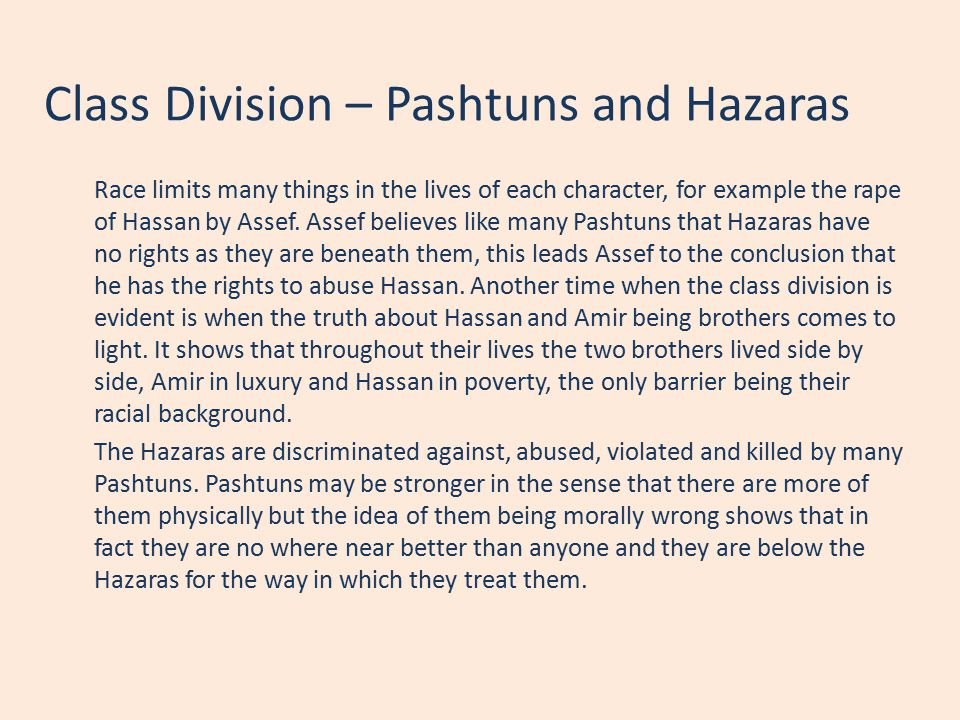 Class Division – Pashtuns and Hazaras