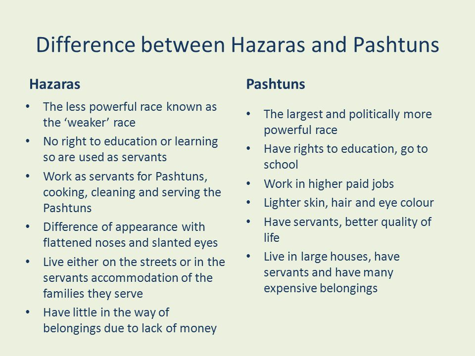 Difference between Hazaras and Pashtuns