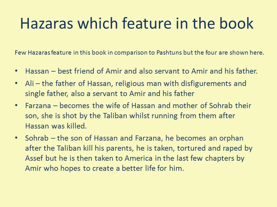 Hazaras which feature in the book