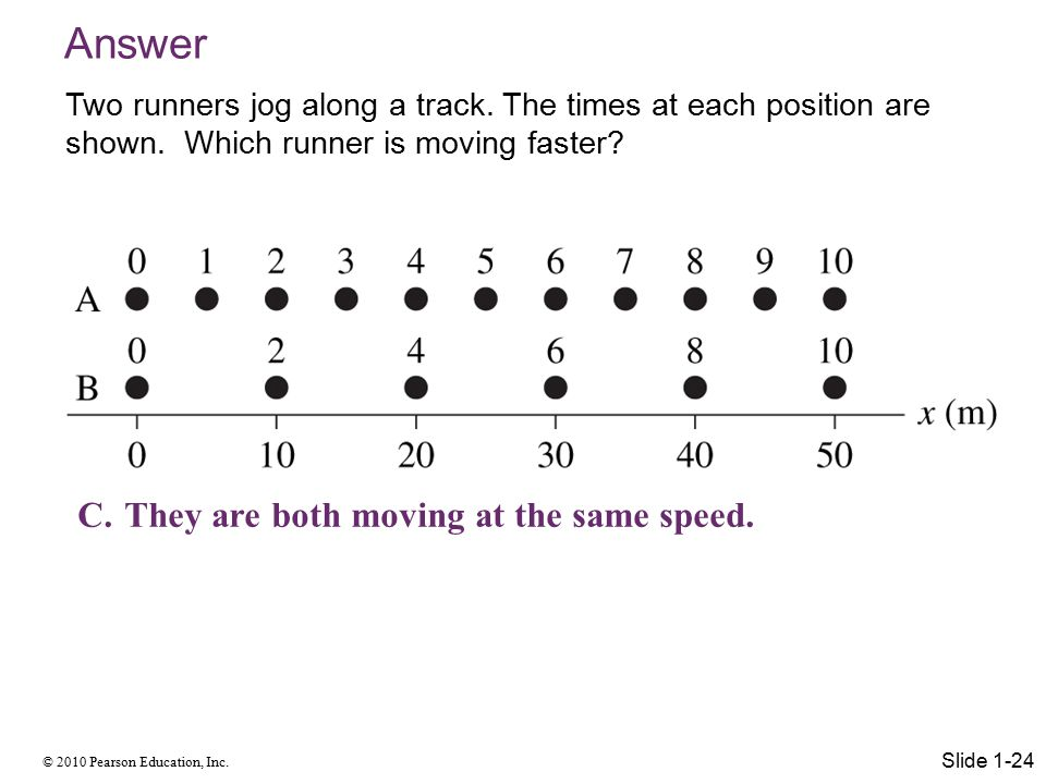 Answer They are both moving at the same speed.