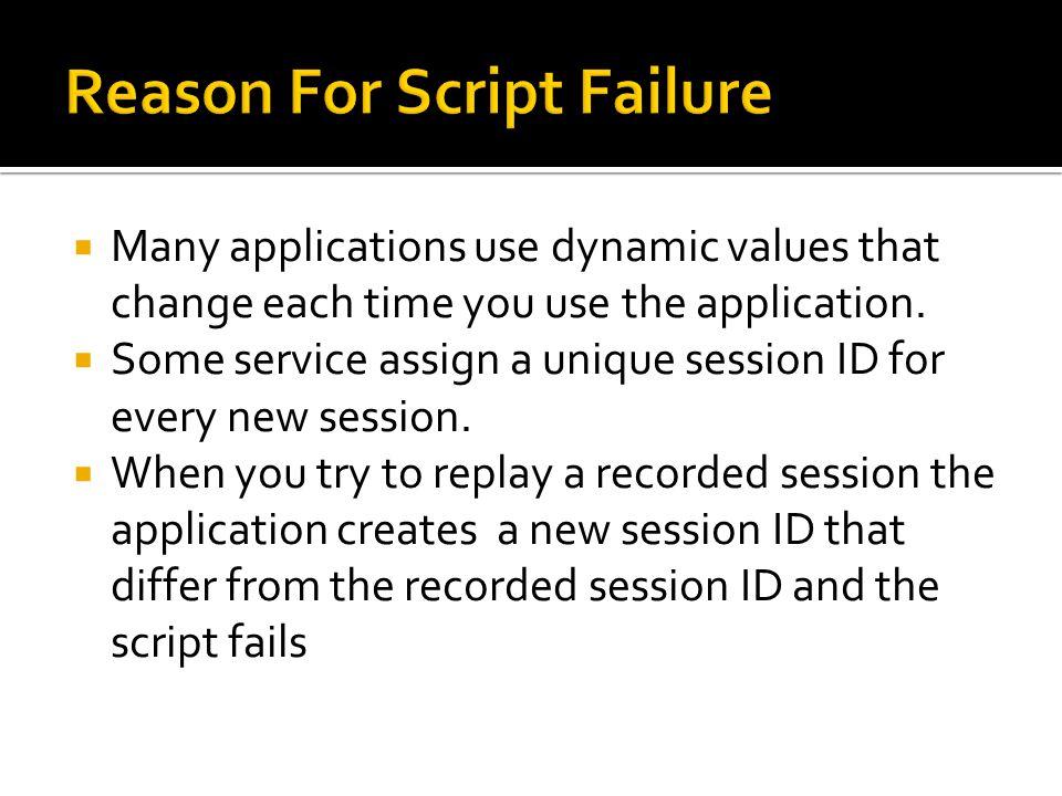 Reason For Script Failure