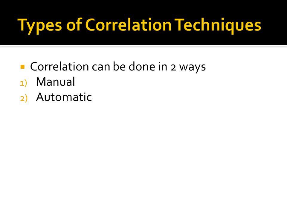 Types of Correlation Techniques