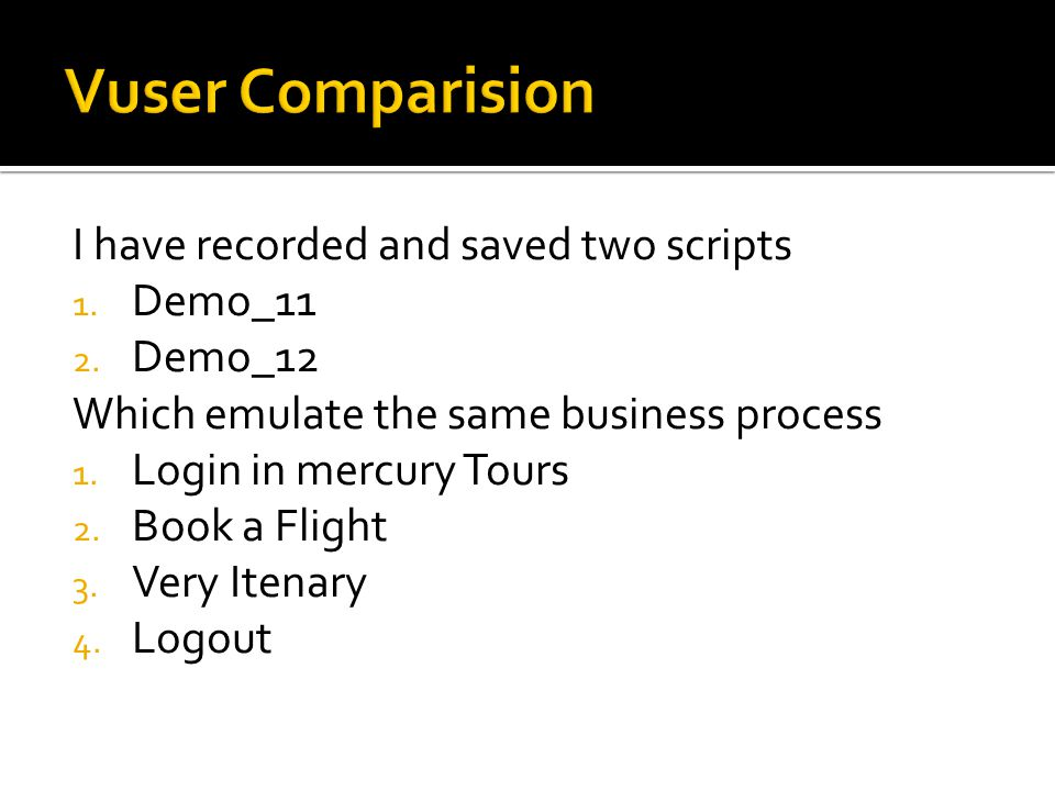 Vuser Comparision I have recorded and saved two scripts Demo_11