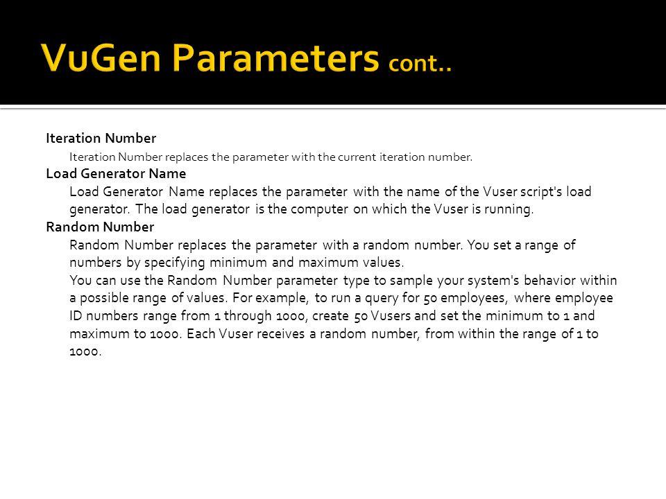 VuGen Parameters cont..