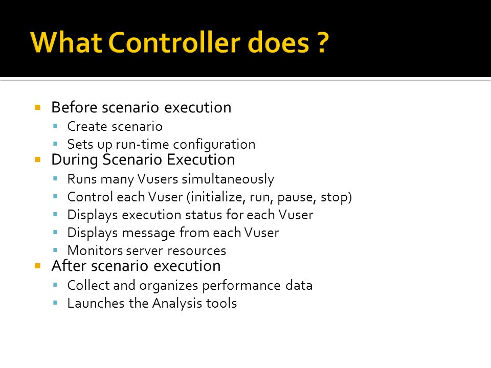 What Controller does Before scenario execution