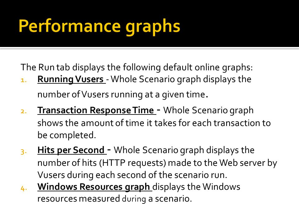 Performance graphs The Run tab displays the following default online graphs: