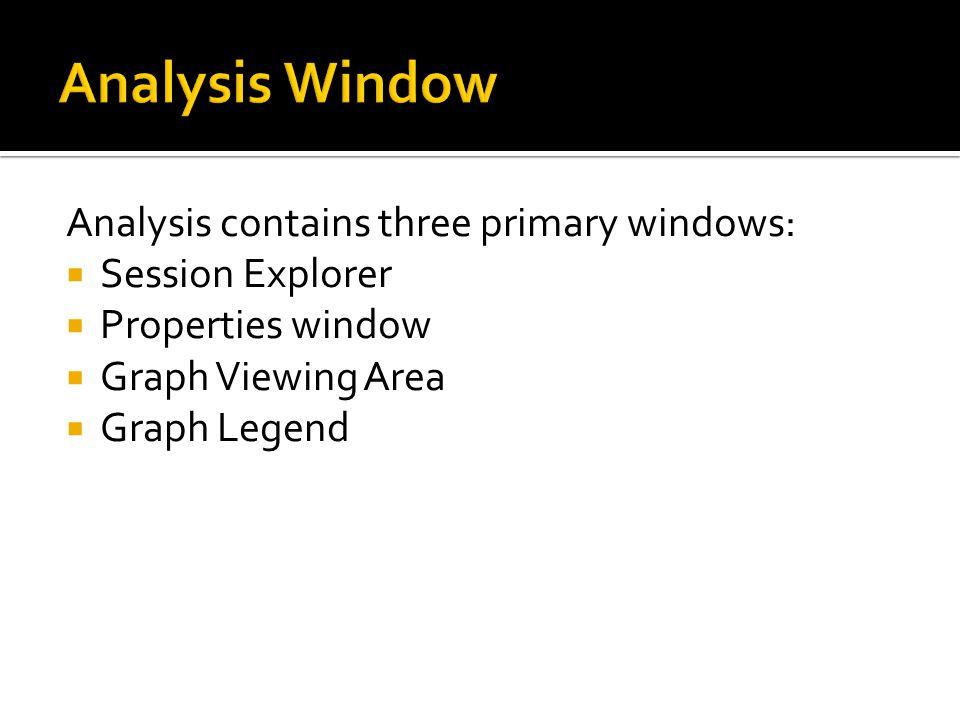 Analysis Window Analysis contains three primary windows: