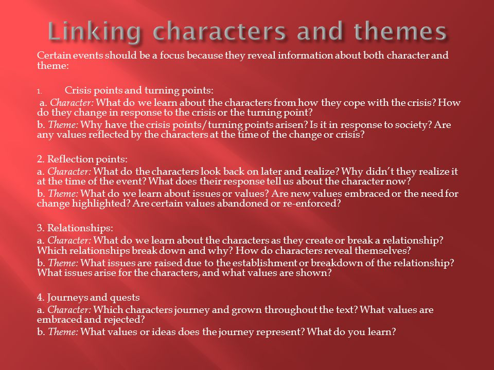 Linking characters and themes