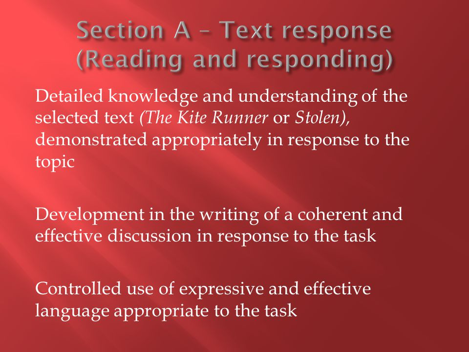 Section A – Text response (Reading and responding)