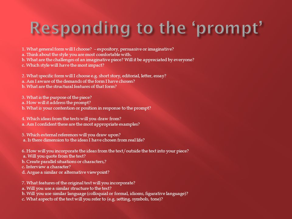 Responding to the 'prompt'