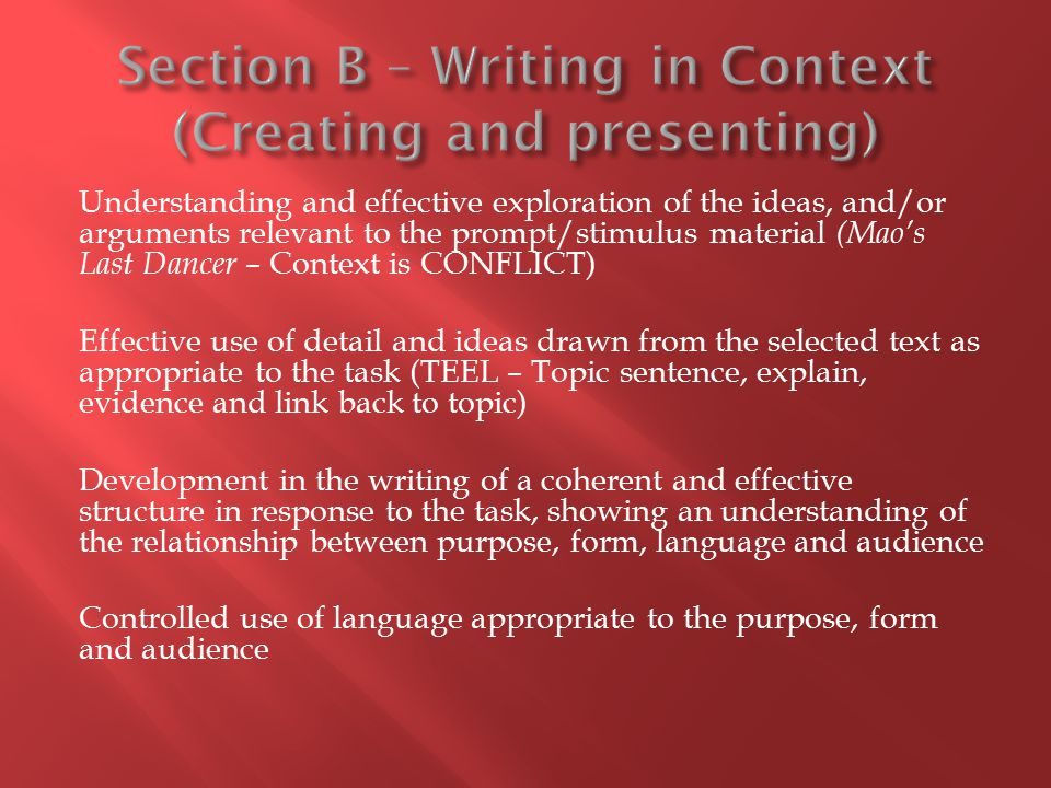 Section B – Writing in Context (Creating and presenting)