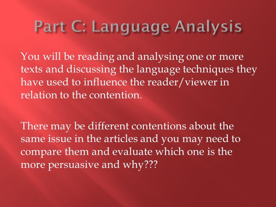 Part C: Language Analysis