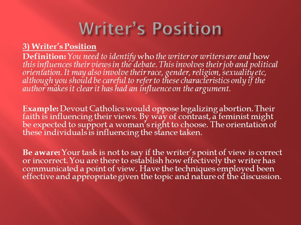 Writer's Position