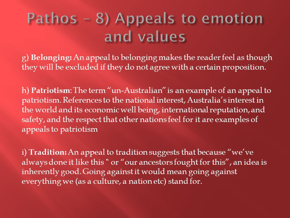 Pathos – 8) Appeals to emotion and values