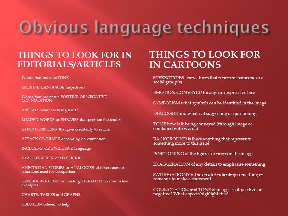 Obvious language techniques