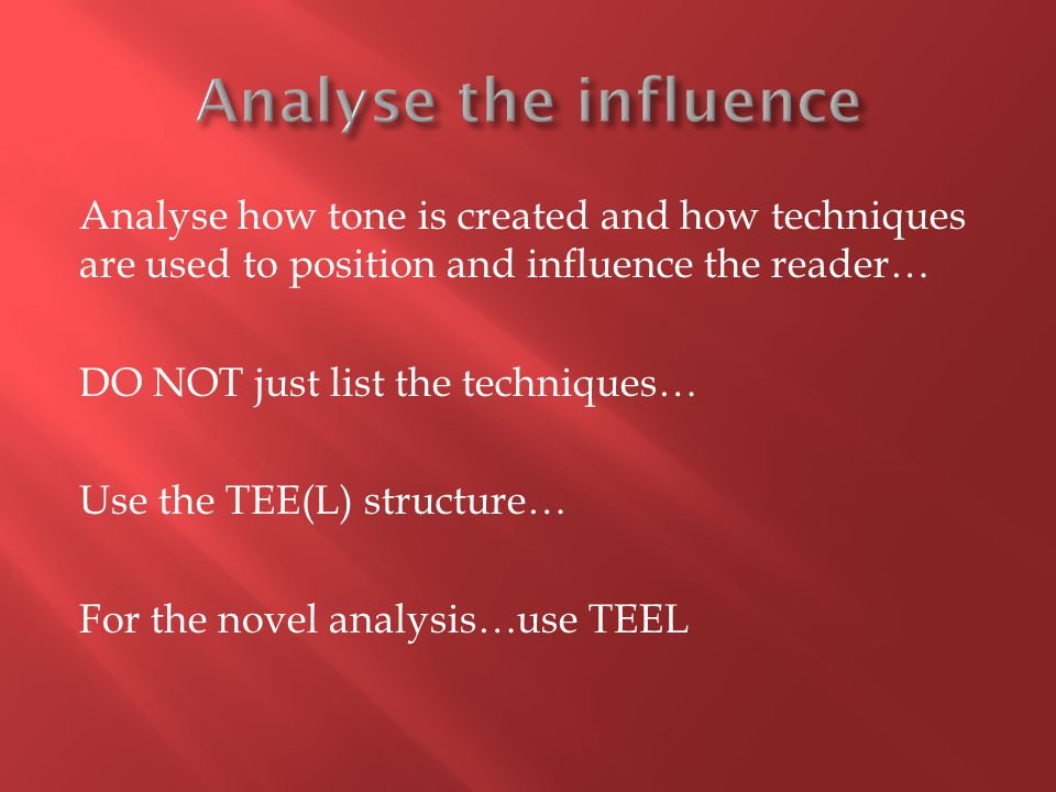 Analyse the influence