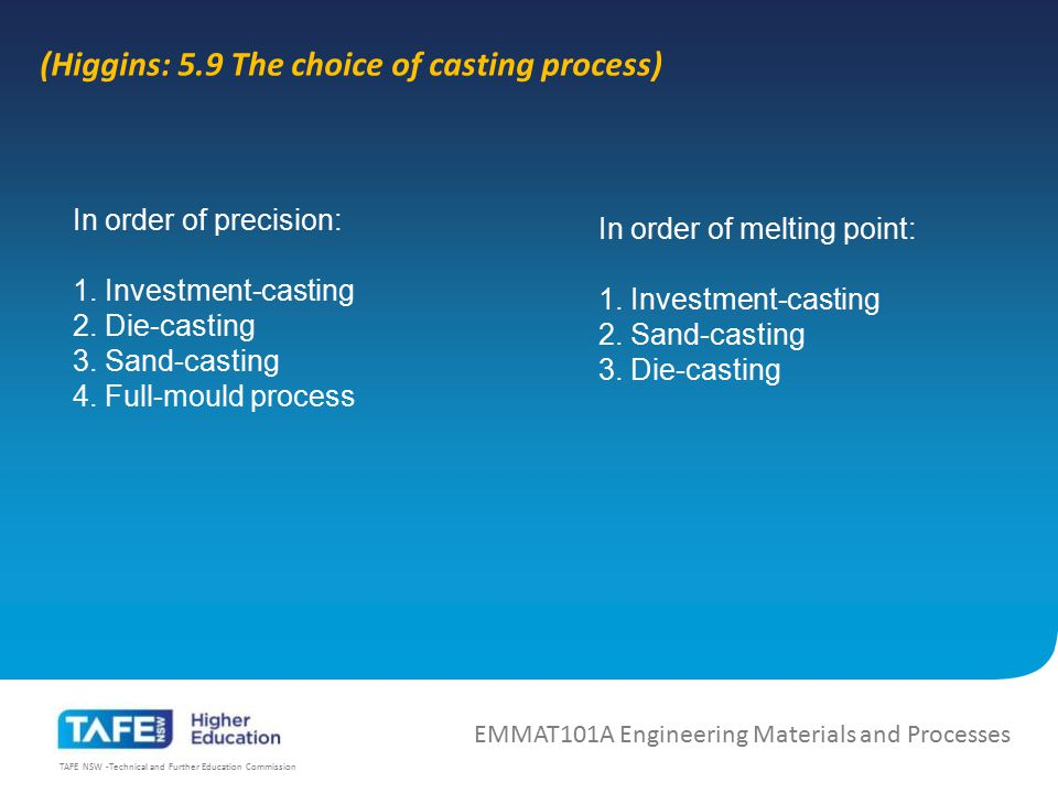 (Higgins: 5.9 The choice of casting process)