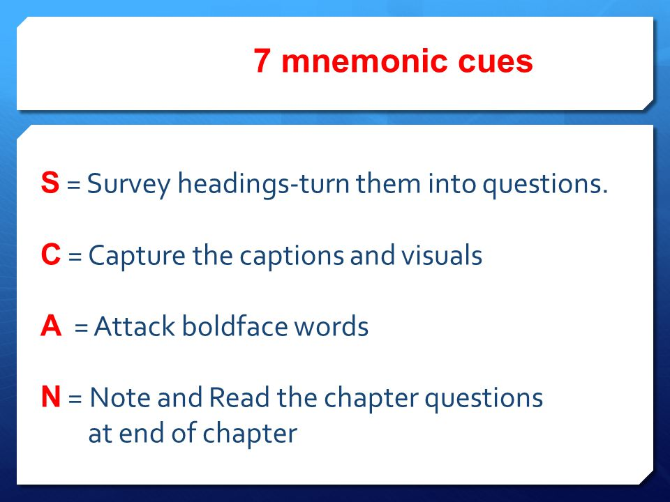7 mnemonic cues