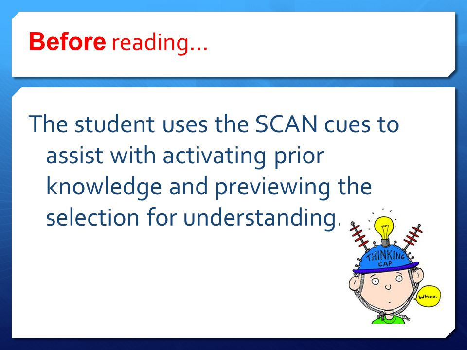 Before reading… The student uses the SCAN cues to assist with activating prior knowledge and previewing the selection for understanding.