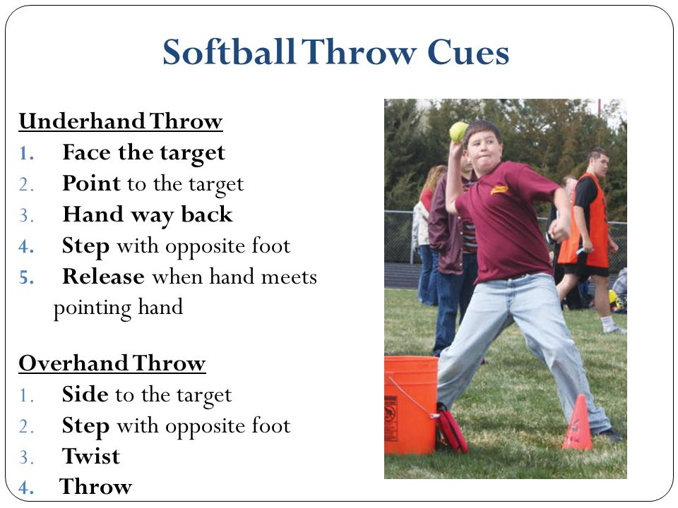 Softball Throw Cues Underhand Throw Face the target