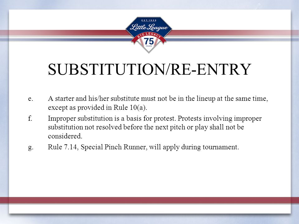 SUBSTITUTION/RE-ENTRY