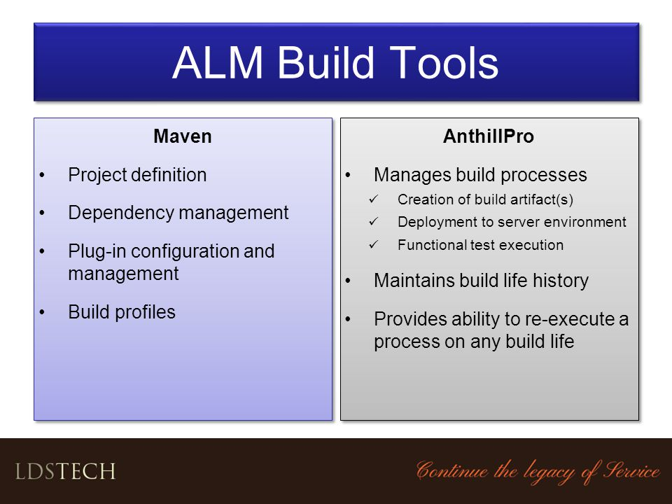 ALM Build Tools Maven Project definition Dependency management
