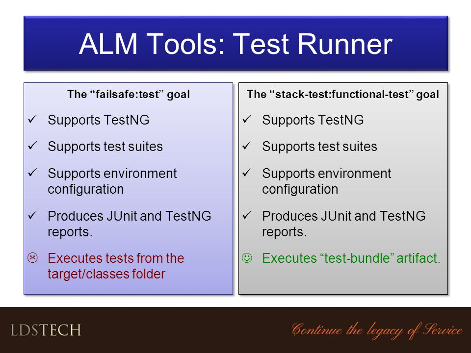 The failsafe:test goal The stack-test:functional-test goal