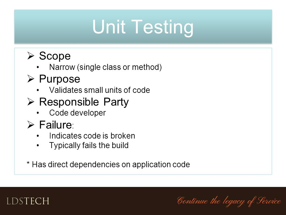 Unit Testing Scope Purpose Responsible Party Failure: