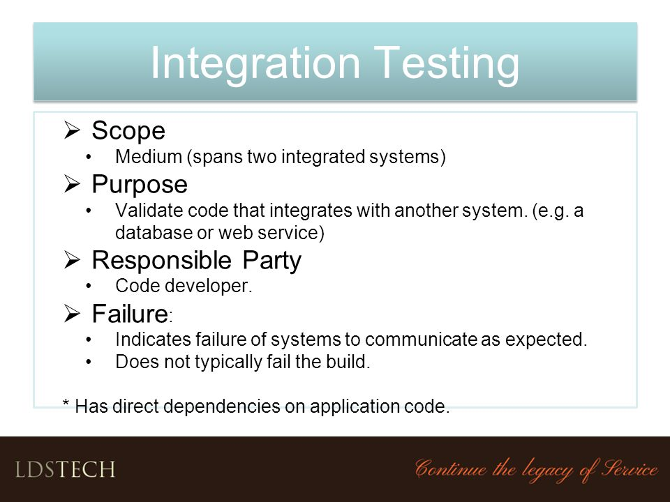 Integration Testing Scope Purpose Responsible Party Failure: