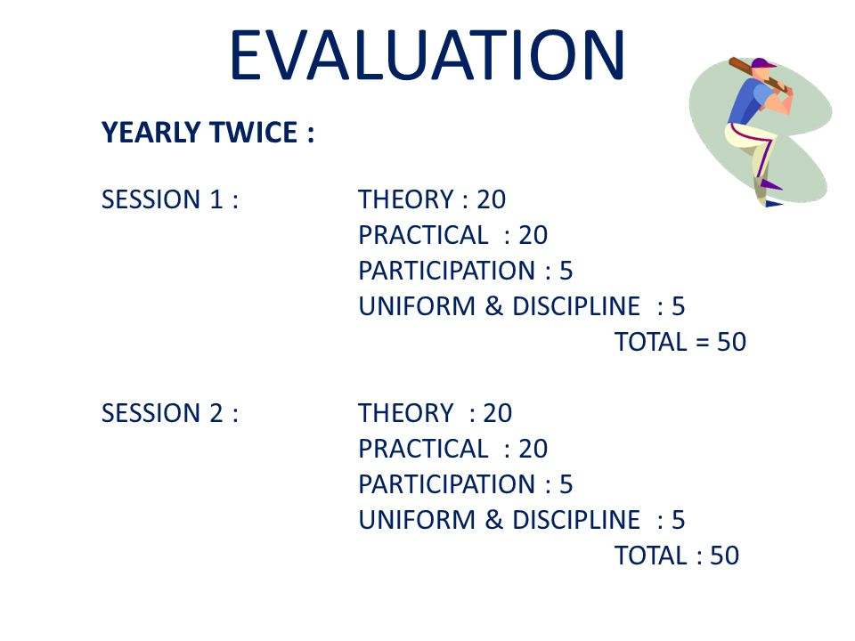 EVALUATION YEARLY TWICE : SESSION 1 : THEORY : 20 PRACTICAL : 20