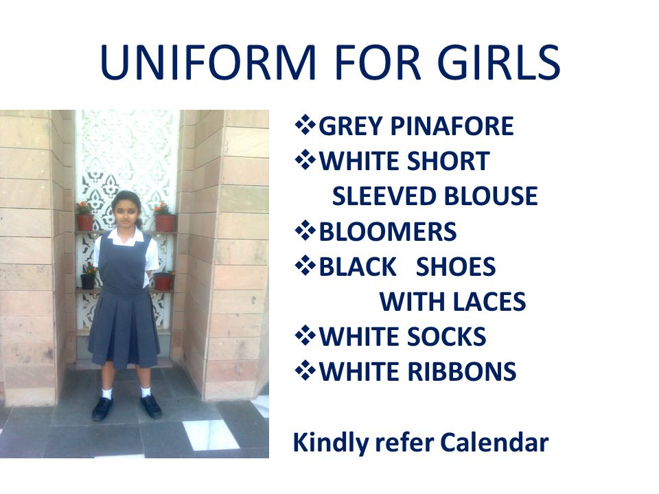 UNIFORM FOR GIRLS GREY PINAFORE WHITE SHORT SLEEVED BLOUSE BLOOMERS