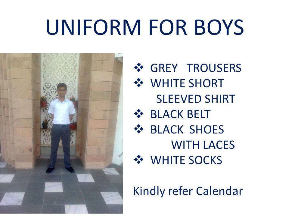 UNIFORM FOR BOYS GREY TROUSERS WHITE SHORT SLEEVED SHIRT BLACK BELT