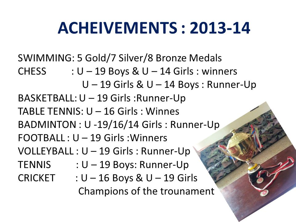 ACHEIVEMENTS : 2013-14 SWIMMING: 5 Gold/7 Silver/8 Bronze Medals