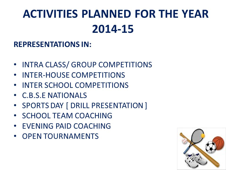 ACTIVITIES PLANNED FOR THE YEAR 2014-15