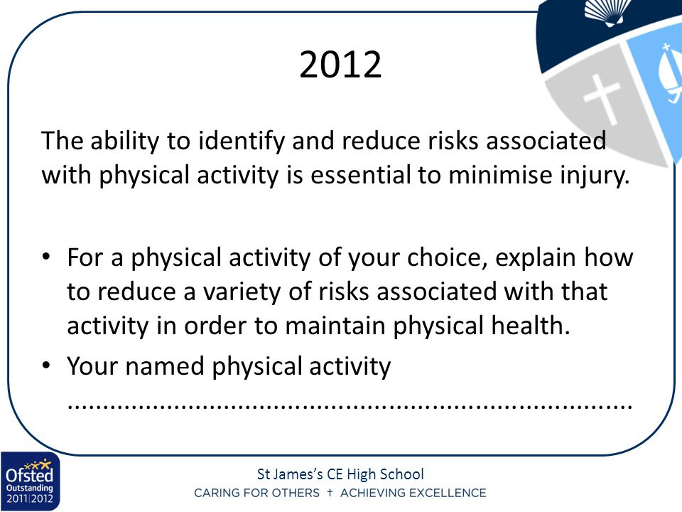 2012 The ability to identify and reduce risks associated with physical activity is essential to minimise injury.