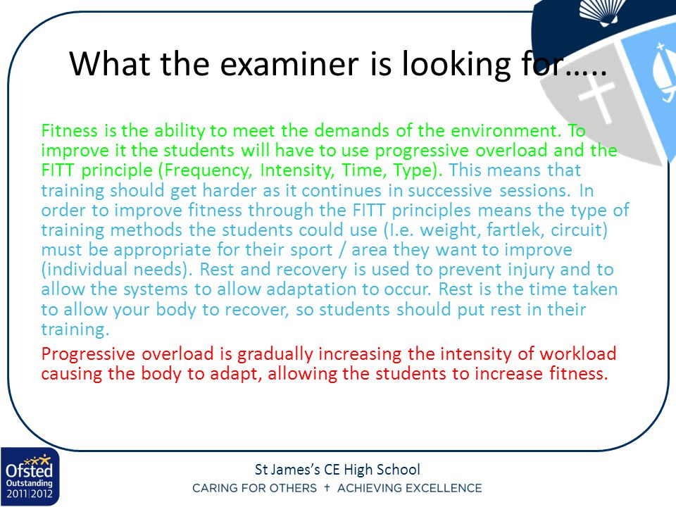 What the examiner is looking for…..