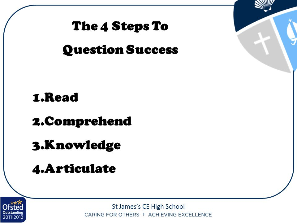 The 4 Steps To Question Success Read Comprehend Knowledge Articulate