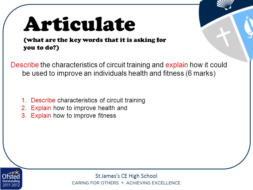 Articulate (what are the key words that it is asking for you to do )
