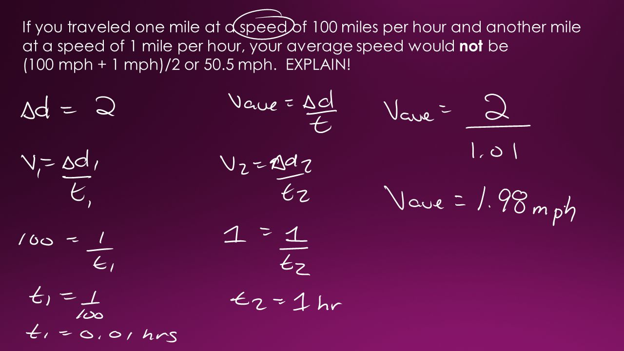 If you traveled one mile at a speed of 100 miles per hour and another mile at a speed of 1 mile per hour, your average speed would not be (100 mph + 1 mph)/2 or 50.5 mph.