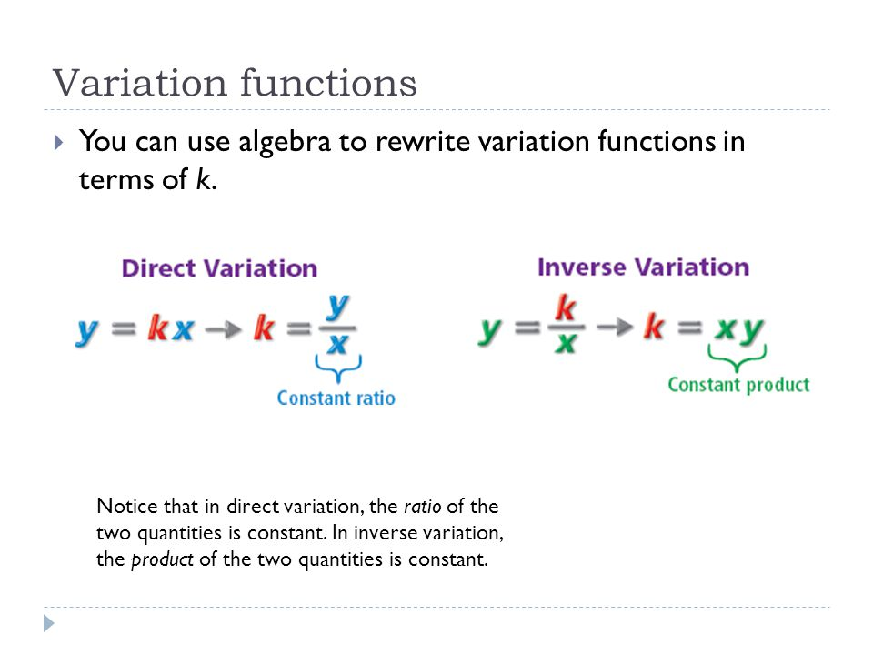 Variation functions You can use algebra to rewrite variation functions in terms of k.