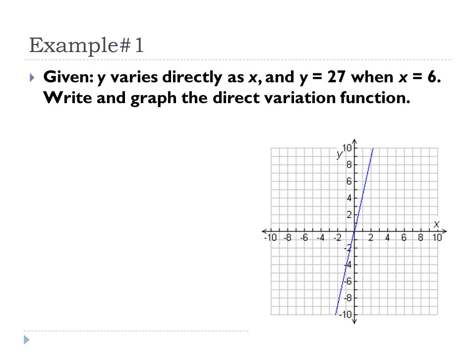 Example#1 Given: y varies directly as x, and y = 27 when x = 6.