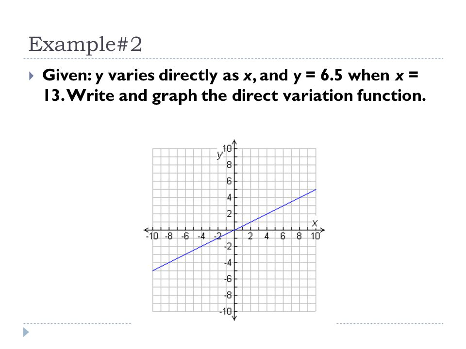 Example#2 Given: y varies directly as x, and y = 6.5 when x = 13.