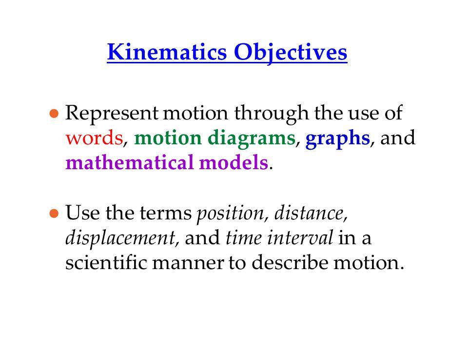 Kinematics Objectives